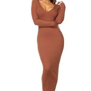 NEW Long Sleeve Bodycon Maxi Sweater Dress
